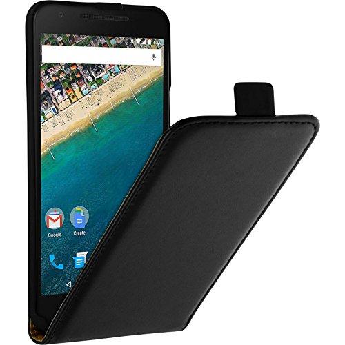 PhoneNatic Kunst-Lederhülle kompatibel mit Google Nexus 5X - Flip-Hülle schwarz + 2 Schutzfolien