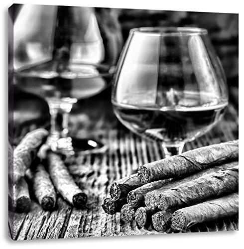 Whisky met sigaarCanvas Foto Plein | Maat: 40x40 cm | Wanddecoraties | Kunstdruk | Volledig gemonteerd