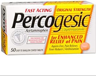 Percogesic Tablets 50 Tablets [Acetaminophen/Diphenhydramine] (Pack of 3)