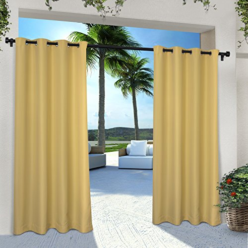 Exclusive Home Curtains Indoor/Outdoor Solid Cabana Grommet Top Curtain Panel Pair, 54x84, Sundress Yellow, 2 Count