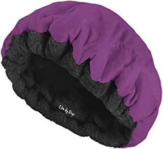 Deep Conditioning Heat Cap- Cordless, Microwavable Heat Cap for Steaming, Heat Therapy for Hair, Microfiber Cotton, Reversible, Flaxseed Interior by Glow by Daye (Purple/Black)
