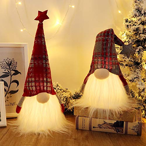 GMOEGEFT Scandinavian Christmas Gnome Lights with Timer, Swedish Santa Tomte Gnome, Nordic Xmas Decoration - Set of 2 (Plaid Pattern), 18.8 x 4.8 Inches