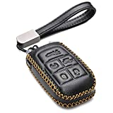 Vitodeco Genuine Leather Keyless Entry Remote Control Smart Key Case Cover with Leather Key Chain for 2019-2021 RAM 2500, 3500, 4500, 5500 (5-Button, Black)