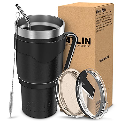 Atlin Tumbler [30 oz. Double Wall Stainless Steel Vacuum Insulation] - Black Travel Mug [Crystal Clear Lid] Water Coffee Cup...