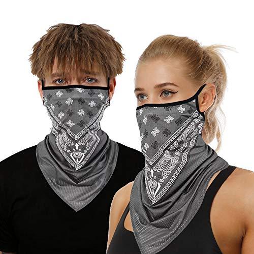 onehous Bandana Gesichtsmaske für Damen/Herren, Unisex, multifunktional, Outdoor-Maske, Schal, Sturmhaube mit Ohrschlaufen, elastisch, atmungsaktiv, waschbar, für Outdoor, Motorrad, 2 Stück, Grau