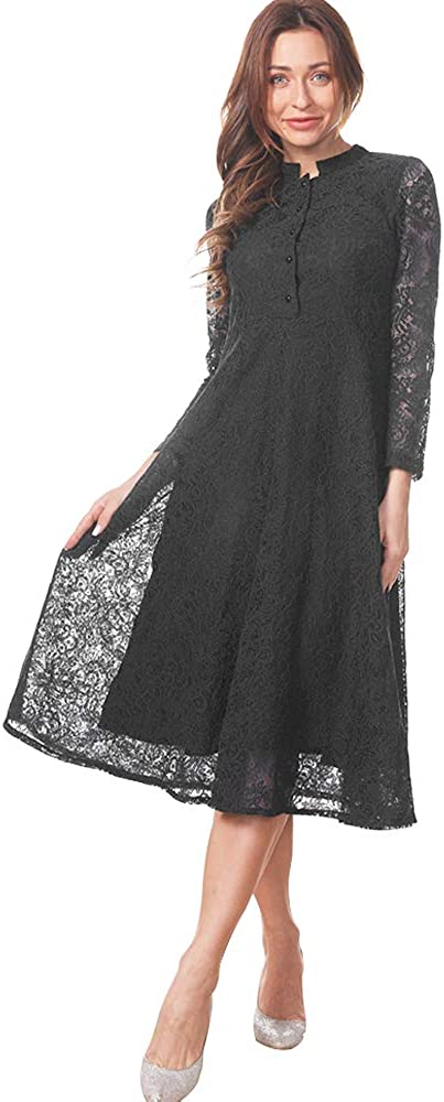 Women's Maxi Formal Dress Floral High Long Award Neck 2021 model Sleeve Lace