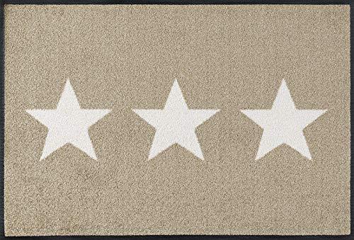 wash+dry Fußmatte Stars sand, 50x75 cm, innen und außen, waschbar, beige