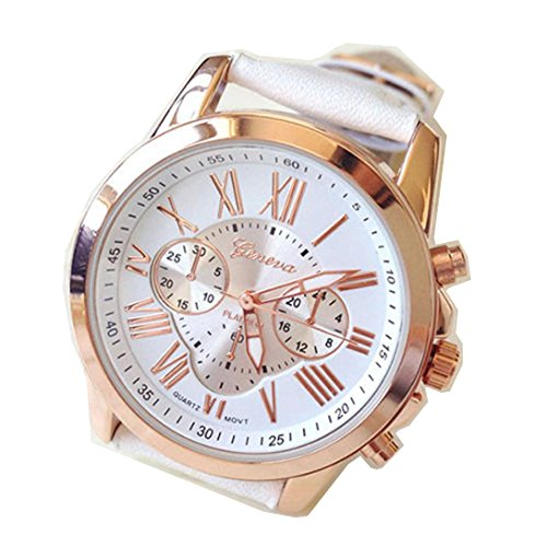Balakie UniqueNew Women's Watch Fashion Trendy Roman Numerals Faux Leather Analog Quartz Wrist Watch (White, Alloy)