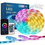 Tira de LED 12m, Tira de LED Maxuni 5050 RGB con 60 mil colores y 108 LED, control de APP y mando a distancia, cadena de luz...