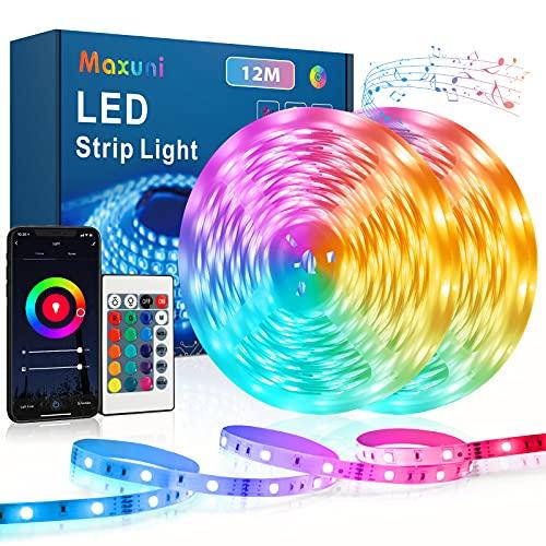 Tira de LED 12m, Tira de LED Maxuni 5050 RGB con 60 mil colores y 108 LED, control de APP y mando a distancia, cadena de luz autoadhesiva para TV, salón, dormitorio etc. (12m)