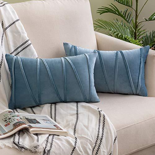 Woaboy Juego de 2 fundas de almohada de terciopelo a rayas modernas, decorativas sólidas, rectangulares, suaves, acogedoras, para cama, sofá, coche, sala de estar, 30 x 50 cm, color azul claro