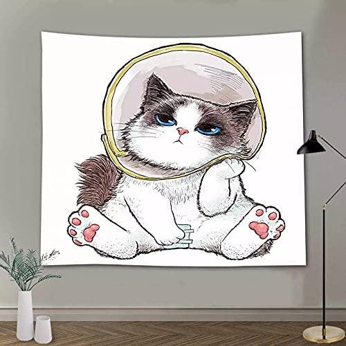 Tapiz decoración Pared Arte Tapiz de Animales Divertidos Tapiz de Gato Blanco Divertido Tapiz de Gato de Dedo Medio póster de Pared Mural para Sala de Estar dormitorio-51x59inch