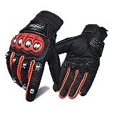Guantes de Cuero para Motocicleta para Hombres y Mujeres, Guantes de conducción para Deportes de Motor con Pantalla táctil (Rojo, L)