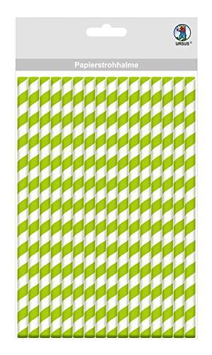 Papieren rietjes met strepen motief in groen, biologisch afbreekbaar, geschikt voor levensmiddelen, waterbestendig, voor het vormgeven en decoreren, 16 stuks, lengte 19,5 cm, diameter 0,8 cm