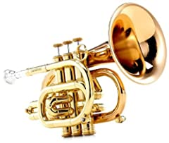 """.460 bore, key of Bb lacquer finish with large 4.724"""" gold brass bell close tolerance stainless steel valves 2 water keys, weighted bottom caps first and third thumb hooks for tuning with either hand"""