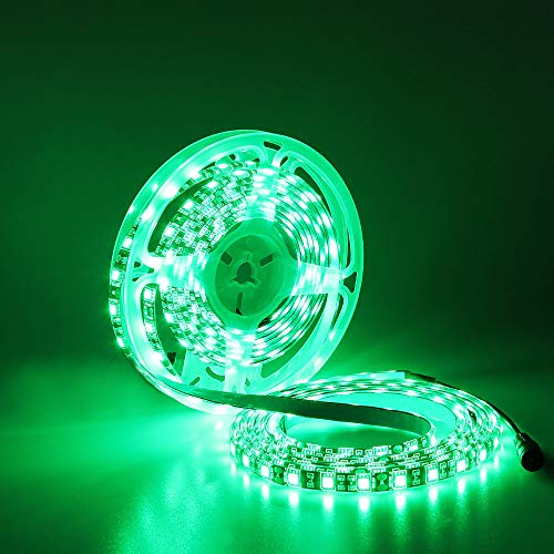 YUNBO LED Strip Light Green 520-525nm, 16.4ft/5m 300 Units Cuttable SMD 5050 Black PCB Board 12V Waterproof Flexible LED Tape Light for Boat, Car, Bar, Party, Holiday Decoration Lighting