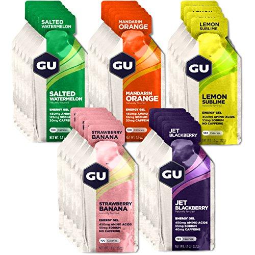 GU Energy Original Sports Nutrition Energy Gel, 24-Count, Assorted Fruity Flavors