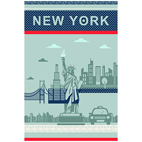 Coucke French Cotton Jacquard Towel, New York City, 20-Inches by 30-Inches, Blue, 100% Cotton