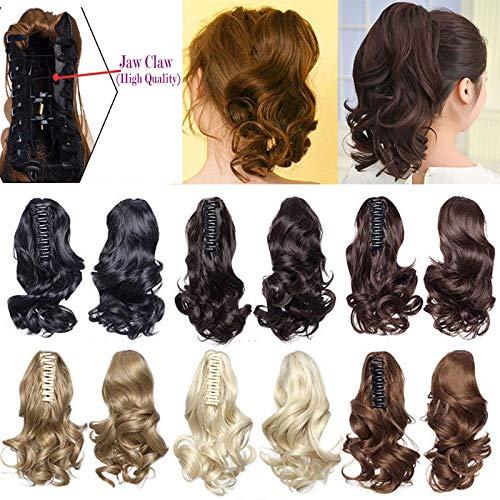 Clip in Extensions Haarteil Zopf Pferdeschwanz Gewellt Haarverlängerung Ponytail wie Echthaar Handy Claw Hairpiece 30cm Dunkelschwarz