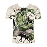 BORO-WY Unisex 3D Impreso Manga Corta película Animado, Hulk Camiseta Hawaiana Playa Cuello Redondo Camisetas,L