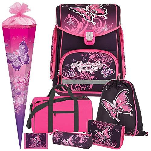 Butterfly - Schmetterling - Spirit MAXX mit BLINKENDEM LED-Schloss Leicht-Schulranzen-Set 7 teilig mit Sporttasche und SCHULTÜTE