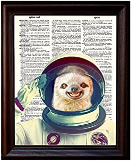 Fresh Prints of CT Sloth Astronaut - Dictionary Art Print Printed On Authentic Vintage Dictionary Book Page - 8 x 10.5