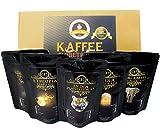 Kaffee Globetrotter - Echte Raritäten - Box (Ganze Bohne) - 5 Mal 100g Raritäten Spitzenkaffee - Werden Sie Zum Entdecker - Geschenk Set - Länder Kaffee aus aller Welt - Kaffeebohnen im...