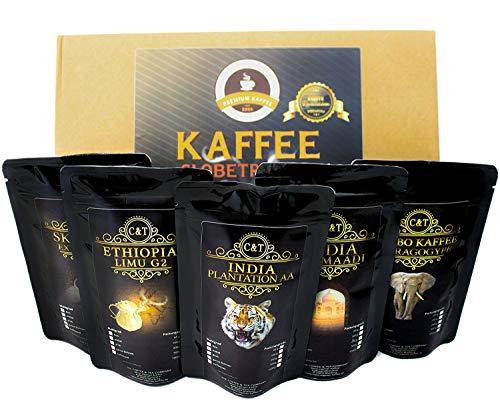 Kaffee Globetrotter - Echte Raritäten - Box (Ganze Bohne) - 5 Mal 100g Raritäten Spitzenkaffee - Werden Sie Zum Entdecker - Geschenk Set - Länder Kaffee aus aller Welt - Kaffeebohnen im Geschenkkarton