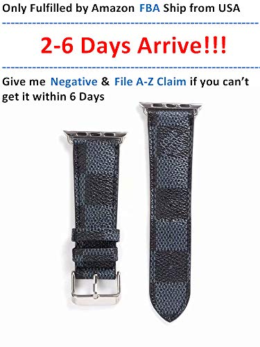 A+NYC 40 Compatible Apple Watch Straps 38mm (fit for 40mm), Luxury Fashion PU Leather Classic Wrist Bands for Women and Men, Replacement for Apple Watch Series 4 3 2 1 38/40MM (Grey Checker)