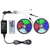 WenTop Led Strip Lights Kit 65.5ft(20M) 5050 SMD RGB Flexible LED Tape Lights Non-Waterproof with Power Supply and 44Key IR Remote Controller for Under Cabinet Lighting Bedroom, Living Room