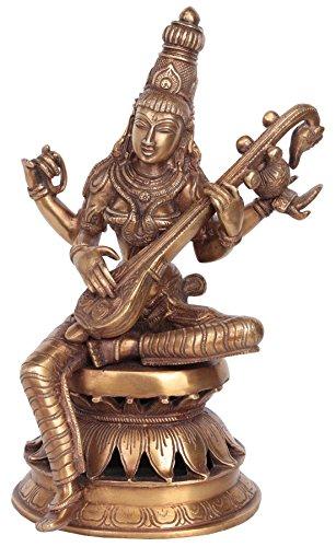 Exotic India Göttin Saraswati Vina Spielen–Messing Skulptur
