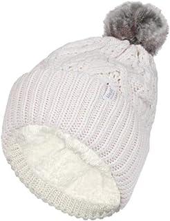 Heat Holders Warm Winter Thermal Solna Pom Pom Beanie Hat Cream