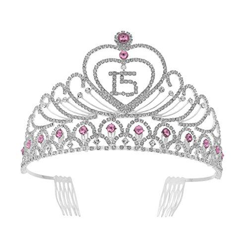 Frcolor Corona Cumpleaños 15 Años Diadema Cumpleaños Muje
