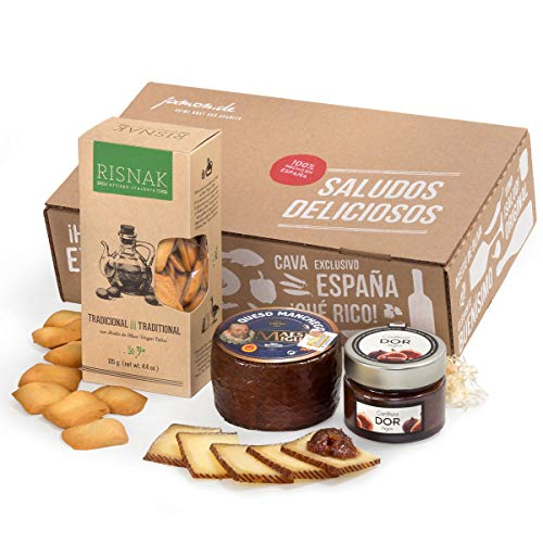 Feinkost-Geschenk FÜR KÄSELIEBHABER | Manchego-Käse aus Spanien, Feigenkonfitüre & Weizencracker mit Olivenöl | Geschenk-Box für Gourmets und Liebhaber mediterranen Essens | Geschenkfertig dekoriert