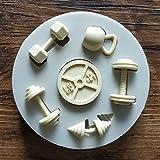 SUNIY Herramienta de Pastel Deportes Fitness Ejercicio Ejercicio Mancuerna Molde de Silicona Decoración de Pasteles Decoración de Dulces Fudge Cake Tool