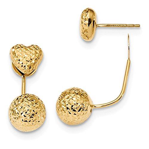 Pendientes de oro amarillo de 14 quilates con corte de diamante en la parte delantera y trasera