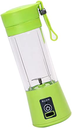 FITYLE USB Electric Safety Juicer Cup, Fruit Juice Mixer, Travel Blend,Mini Portable Rechargeable/Juicing Mixing Crush Ice Blender Mixer, Water Bottle - Green 3S, 8x22.5cm