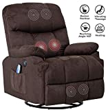 Mecor Massage Recliner Chair Fabric Rocker Recliner with Heat 360 Degree Swivel Single Sofa Seat Ergonomic Lounge with USB/Side Pockets/Remote Control for Living Room (Chocolate)