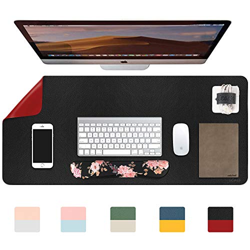 """iCasso Desk Pad, Dual-Sided Multifunctional Mouse Pad,Waterproof PU Leather Desk Blotter Protector Desk Mat, Large Desk Writing Pad for Work, Game, Office, Home Accessories - 31.5"""" x 15.7"""" - Black/Red"""
