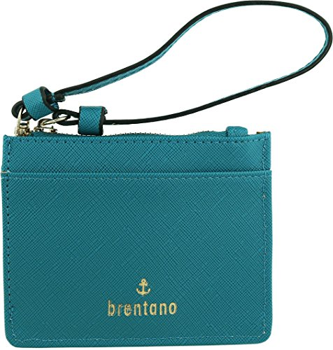 B BRENTANO Vegan Saffiano Leather Slim ID Credit Card Case with Wristlet Strap (Teal)