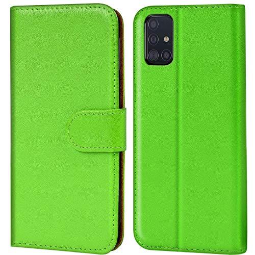 Verco Galaxy A51 Hülle, Handyhülle für Samsung Galaxy A51 Tasche PU Leder Flip Hülle Brieftasche, Grün