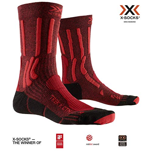 X-SOCKS Trek X Cotton Chaussette Mixte Adulte, Dark Ruby/Fire Red, FR : M (Taille Fabricant : 39-41)