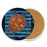 Posavasos de cerámica para bebidas absorbentes – Juego de 4 posavasos de corcho con diseño de tortuga marina