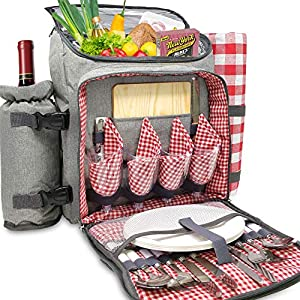 Nature Gear XL Picnic Backpack – Classic 4 Person Insulated Design...