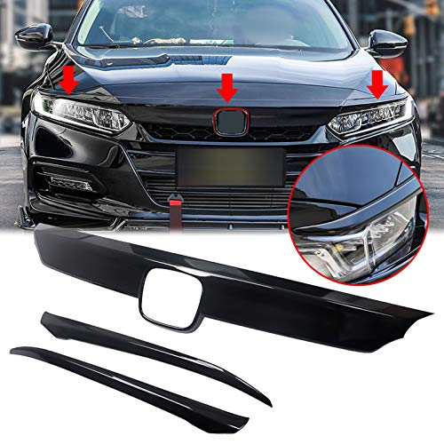 Xotic Tech Front Grille Cover Moulding Trim fit for Compatible with Honda Accord 2018 2019 2020 ABS Glossy Black Lip Bumper, 3PCS