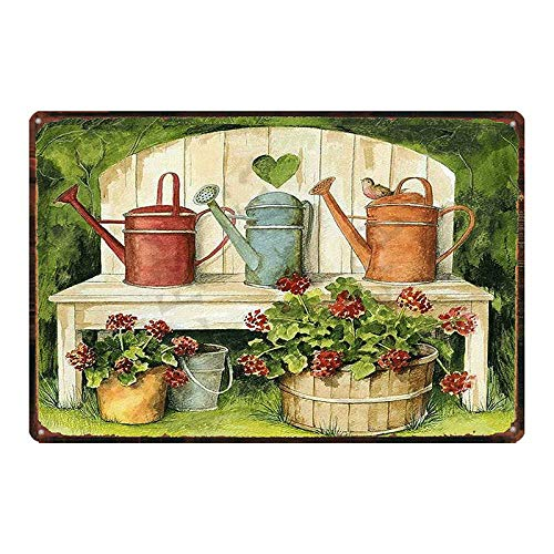 Vintage Metal Sign Tin Sign Garden Lavender Flower Home Bar Garden Restaurant Wall Decor Sign 12X8Inch