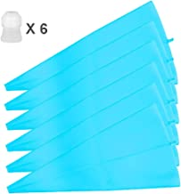 12 inch Silicone Pastry Bags 6-Pack Reusable Cake Decorating Bags Baking Cookie Icing Piping Bags Bonus 6 Icing Couplers for Standard Tips