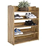 MyGift 5-Tier Brown Wood Entryway Shoe Storage Rack