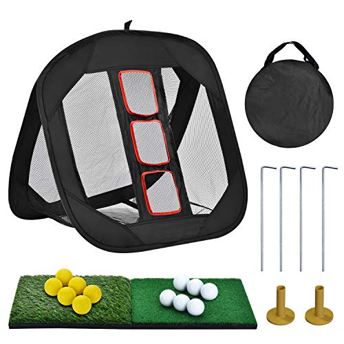 SUNHOO Pop-up Golf Chipping Net with Dual Turf Hitting Mat, Real Solid Practice Golf Ball and Tees Combo, Driving Range Target Swing Training...