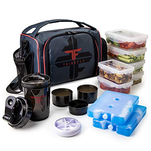 ThinkFit Insulated Meal Prep Lunch Box with 6 Food Portion Control Containers - BPA-Free, Reusable, Microwavable, Freezer Safe - With Shaker Cup, Pill Organizer, Shoulder Strap \& Storage Pocket (Red)